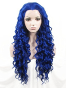 IMSTYLE®Generous Ladies Long Afro Curly Synthetic Lace Front Wig for Cosplay Party Deep Blue Colour Curly Lace Wig