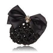 So Beauty Office Lady's Rhinestone Pleated Bowtie Snood Hair Net with French Barrette for Buns Black