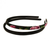 Sufias Accessories 2 BLACK Painted Flower Headband SET 1cm Alice Band Hair Head