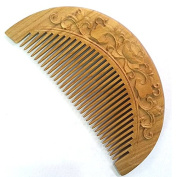 Meta-C Natural Green Sandal Wood Handmade Fishshape Pocket Comb with Flower Carving