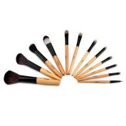 12pcs Brush Comestic Foundational Eyeliner MAKE-UP Brushes Set with Leopard Cosmetic Bag