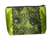 Toiletries Bag Green with A rose lace strip KB002