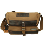 Linshi Tasks High Density Thick Canvas Shoulder Crossbody Messenger Bag,29cm*25cm*11cm(W x H x D),Khaki,LT60450BN