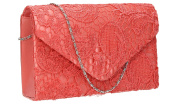 Holly Lace Envelope Womens Party Prom Wedding Bridal Clutch Bag - Coral