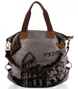 Fansela(TM) Women Vintage Retro Canvas Hobo Shopper Crossbody Handbag Grey
