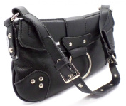 Satchel Style Shoulder Bag small Handbag with stud detailing and adjustable handle BLACK