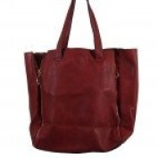 Shopping Bag Hand-Mode and Burgundy Red Imitation-Leather Case with decorative zippers on the sides and clutch bag included-Imitation Leather-Burgundy