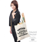 VINTAGE 1975 AGED TO PERFECTION 40th Birthday Present Tote Bag - With A Black Print - Edward Sinclair Shoulder Bag