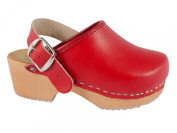 Children clogs heel strap red