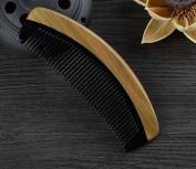 Black Moonshape Buffalo Horn Hair Comb with Sandalwood Handle