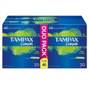 Tampax Compak Super Applicator Tampons - Pack of 40