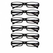 Southern Seas 6 Pairs Value Pack Unisex Everyday (Black Frame) Reading Glasses Lens Strength +2.50