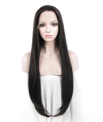 Imstyle Synthetic Lace Front Wig Long Straight Jet Black Heat Resistant Drag Queens Wig