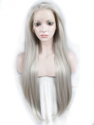 Sensationnel Extra Long Straight Top Quality Lady Gaga Grey Colour Synthetic Lace Front Wig