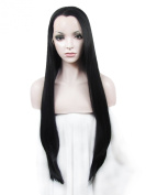 Imstyle Cosplay Extra Long Silky Straight Black Synthetic Lace Front Heat Resistant Wig