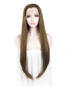 Imstyle Heat Resistant Superior Quality Wig Extra Long Straight Brown Synthetic Lace Front Wig