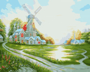 [ New Release ] Diy Oil Painting by Numbers, Paint by Number Kits - Dutch Windmill 16*50cm - Digital Oil Painting Canvas Wall Art Artwork Landscape Paintings for Home Living Room Office Christmas Decor Decorations Gifts - Diy Paint by Numbers Diy ..