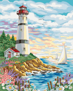 [ New Release ] Diy Oil Painting by Numbers, Paint by Number Kits - Watch Tower 16*50cm - Digital Oil Painting Canvas Wall Art Artwork Landscape Paintings for Home Living Room Office Christmas Decor Decorations Gifts - Diy Paint by Numbers Diy Can ..