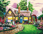 [ New Release ] Diy Oil Painting by Numbers, Paint by Number Kits - Fairy Tale Cottage 16*50cm - Digital Oil Painting Canvas Wall Art Artwork Landscape Paintings for Home Living Room Office Christmas Decor Decorations Gifts - Diy Paint by Numbers ..