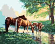 [ New Release ] Diy Oil Painting by Numbers, Paint by Number Kits - Three Horses Drinking Water 16*50cm - Digital Oil Painting Canvas Wall Art Artwork Landscape Paintings for Home Living Room Office Christmas Decor Decorations Gifts - Diy Paint by ..