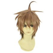 Amybria Straight 30cm Weight 210ml Straight Short Hair Heat Resistant Anime Costume Cosplay Wig Danganronpa / Naegi Makoto With Free Wig Cap Flaxen