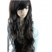 Tqglobal High Quality New Fashion Fluffy Fancy Black Long Full Wig Hair Curl Wigs + Wig Cap + Wig Comb