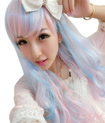NuoYa005 Lolita Wigs Anime Harajuku Long Wavy Curly Hair Blue Mix Pink Girls Wigs Cosplay