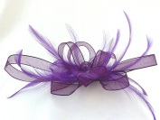 Purple Ribbon & Feathers Hair Fascinator on Comb
