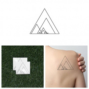 Intricate Geometric Overlapping Triangles and Triangle Shapes Pattern Temporary Tattoo