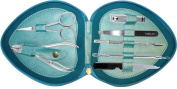 Professional Manicure & Pedicure 7 Piece Stainless Steel kit set in Rexine Leather Blue Case Ideal as a Gift or as a Travel Aid