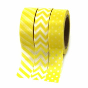 Dress My Cupcake Party Collection Washi Paper Tape, Yellow, Set of 3