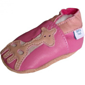 Soft Leather Baby Girl Shoes with Suede Soles by Dotty Fish. Pink Giraffe available in Newborn to 2-3 years.
