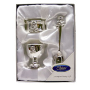 Silverplated Teddy Egg Cup, Napkin Ring and Teddy Spoon Baby Gift Set