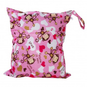 2-Zip Washable Baby Cloth Nappy Nappy Bag Monkey Heart Pink