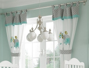 Baby Bedding Design Green Elephant 2 Curtains