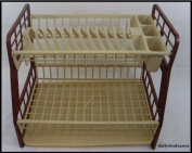High Quality 2 Tier Plastic Dish Drainer Cutlery Plates Tray Rack Brown New