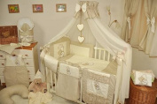 Lux4Kids Children bedding bed set 135x100 nest changing mat sky including rod Mobile pillows fitted paints 16 Heart Ecru & Brown