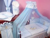 Lux4Kids Children bedding bed set 135x100 nest changing mat sky including rod Mobile pillows fitted paints 12 hearts blue