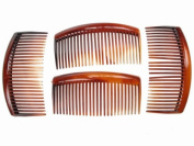 4 Pack 9cm Tort Brown Hair Side Combs Slides Grips