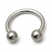Titanium Circular Barbell CBB Horseshoe. 1.2mm gauge 8mm internal diameter 3mm balls. Mirror Polish Metal. Good for lip, eyebrow, nose, smiley, tragus, rook, daith, helix, snug anti-helix, septum, ear piercings.
