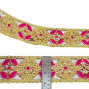 Craft Supply Trim Beaded Ribbon Embroidered 7.6 Cm Wide Sari Border By The Yard