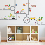 Decowall, DM-1404, The Road and Cars Wall Stickers