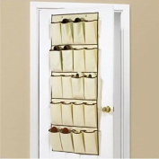 20 POCKET CREAM HANGING OVER DOOR SHOE ORGANISER STORAGE RACK BAG BOX WARDROBE HOOKS