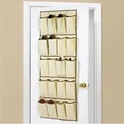 20 POCKET CREAM HANGING OVER DOOR SHOE ORGANISER STORAGE RACK BAG BOX WARDROBE HOOKS
