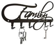 * FAMILY is forever * wall key hooks - design black KEY HANGER