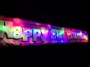 Flashing pink happy 21st Birthday banner decoration.