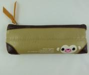 Korean Design Novelty Pencil Case Animal Design - Brown