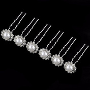 BelleSha Bridal Crystal Pearl Bead Hair Pins 6 pieces