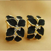 HuntGold 1 Pair Girl's Cute Gardenia Flower Crystal Rhinestone Ear Hoop Buckle Ear Stud