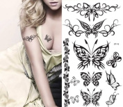 Supperb® Temporary Tattoos - Black Tribal Butterflies